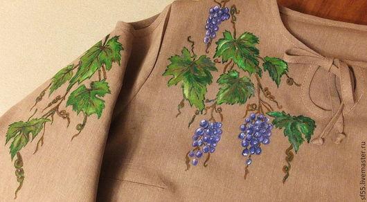 """Блузки ручной работы. Ярмарка Мастеров - ручная работа. Купить Блуза  """"Виноградная гроздь"""" из льна. Handmade. Бледно-сиреневый, лен"""