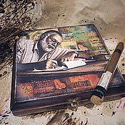 Для дома и интерьера ручной работы. Ярмарка Мастеров - ручная работа Хемингуэй-2, сигарная коробка. Handmade.