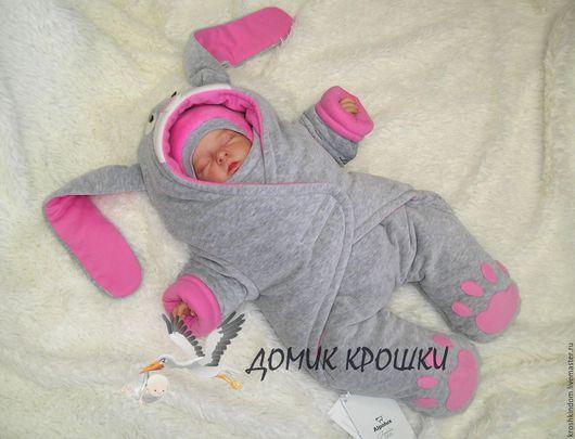 """Для новорожденных, ручной работы. Ярмарка Мастеров - ручная работа. Купить Комбинезон-конверт для новорожденного """"Серенький Зайка Розовый"""". Handmade."""