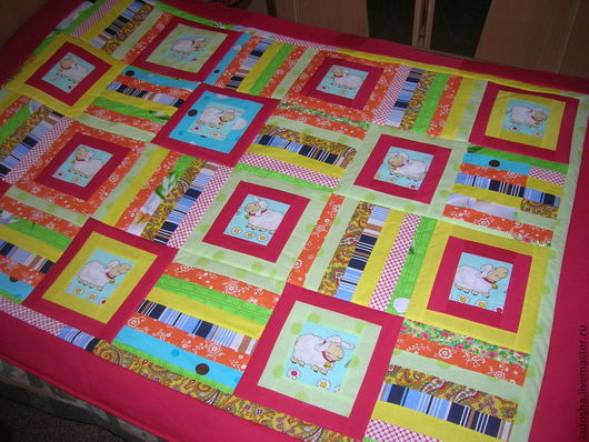 Текстиль, ковры ручной работы. Ярмарка Мастеров - ручная работа. Купить Овечки лоскутное покрывало Оранжевое настроение. Handmade.