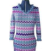 Одежда ручной работы. Ярмарка Мастеров - ручная работа Платье с цветным зигзагом и рюшами. Handmade.