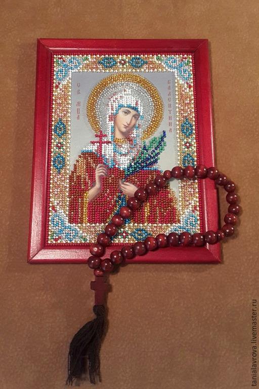 Иконы ручной работы. Ярмарка Мастеров - ручная работа. Купить Икона святой мученицы Валентины, вышитая бисером (Икона на заказ). Handmade.