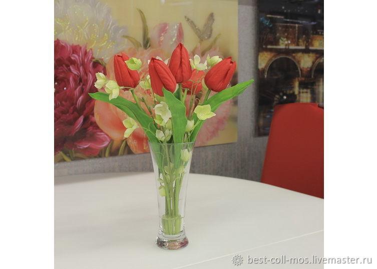 Интерьерные композиции ручной работы. Ярмарка Мастеров - ручная работа. Купить Тюльпаны в вазе с водой. Handmade. Цветы, пвх