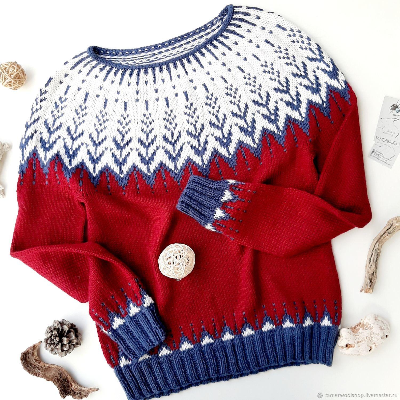 Исландский свитер Лопапейса красный жаккард, Свитеры, Москва,  Фото №1