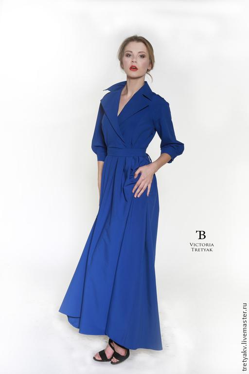 Платья ручной работы. Ярмарка Мастеров - ручная работа. Купить Платье в пол/платье длинное/платье макси/платье синее. Handmade. Синий