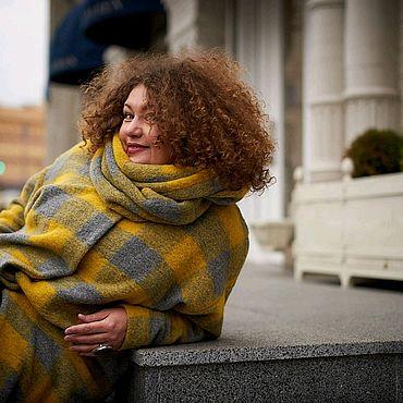Одежда ручной работы. Ярмарка Мастеров - ручная работа Пальто для полныхИтальянская сочная   клетка. Handmade.