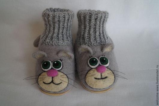 """Обувь ручной работы. Ярмарка Мастеров - ручная работа. Купить """"Котята"""". Handmade. Серый, пинетки, шерсть"""