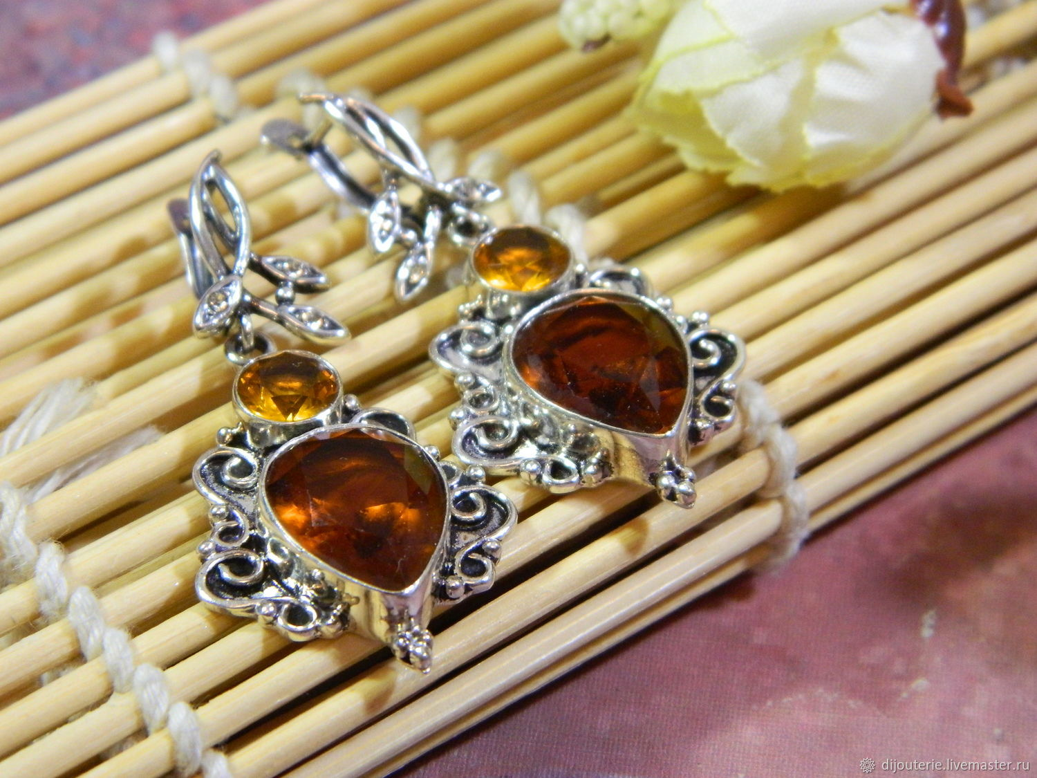 Earrings with Citrine stones, silver jewelry, Earrings, Saratov,  Фото №1