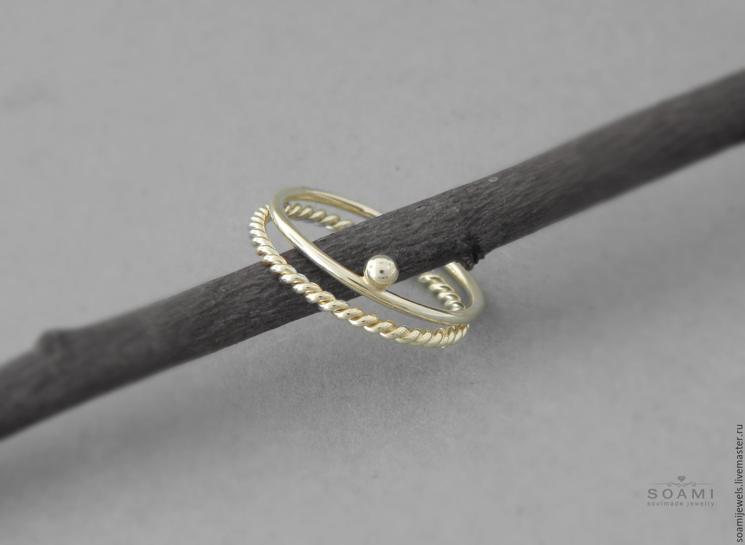 Set of 2 stacking solid gold rings, delicate gold doule ring, Ring set, Prague,  Фото №1