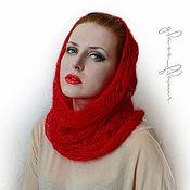 """Аксессуары ручной работы. Ярмарка Мастеров - ручная работа Снуд-капор-шарф """"Амфитрита"""" красный. Handmade."""
