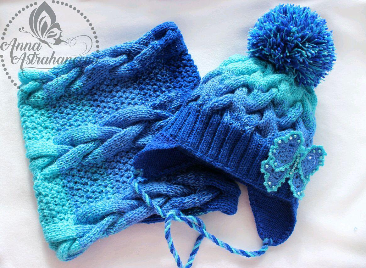 Вязание градиентом шапку6