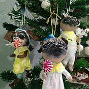 Куклы и игрушки ручной работы. Ярмарка Мастеров - ручная работа Ватная ёлочная игрушка Собачка- символ наступающего Нового года.. Handmade.
