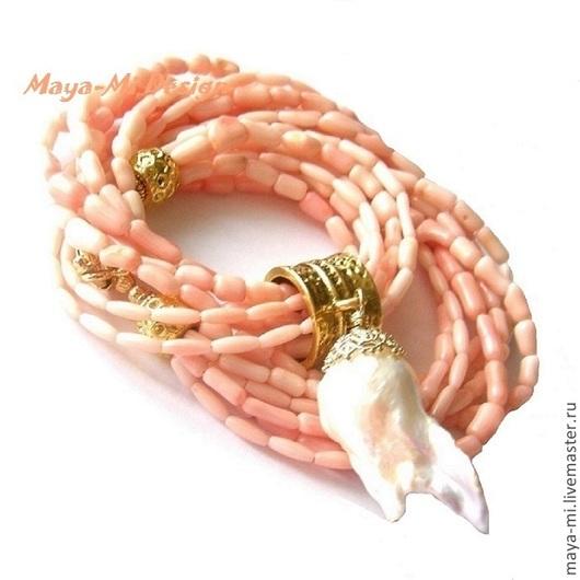 Колье, бусы ручной работы. Ярмарка Мастеров - ручная работа. Купить КОРАЛЛОВЫЙ АТОЛЛ, колье с розовым кораллом и жемчугом. Handmade.
