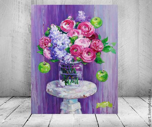 Картины цветов ручной работы. Ярмарка Мастеров - ручная работа. Купить Моя Весна. Handmade. Фиолетовый, ранункулюсы, красивая картина