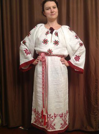 Этническая одежда ручной работы. Ярмарка Мастеров - ручная работа. Купить Вышитая сорочка Берегиня. Handmade. Ярко-красный, Вышиванка