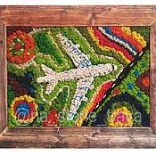 Картины ручной работы. Ярмарка Мастеров - ручная работа Панно из мха Самолет. Handmade.