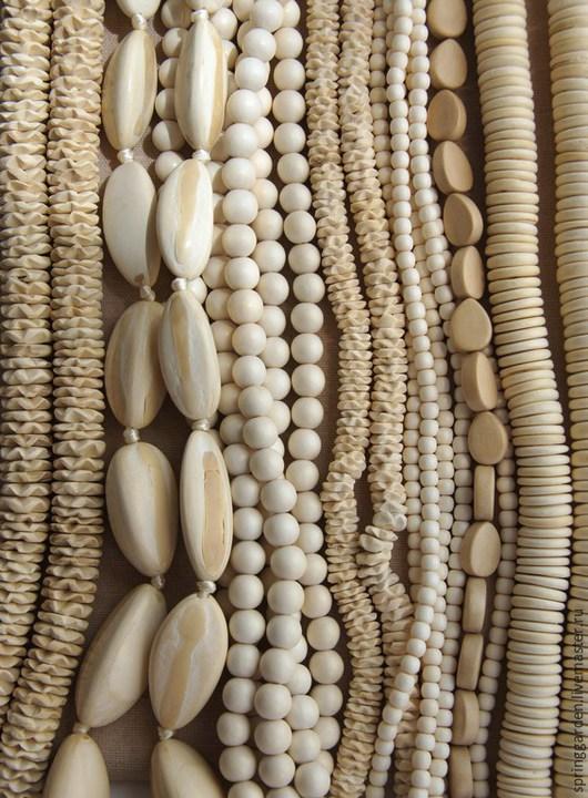 Для украшений ручной работы. Ярмарка Мастеров - ручная работа. Купить Бусины Белое Дерево СЛИВОЧНЫЕ , микс. Handmade.