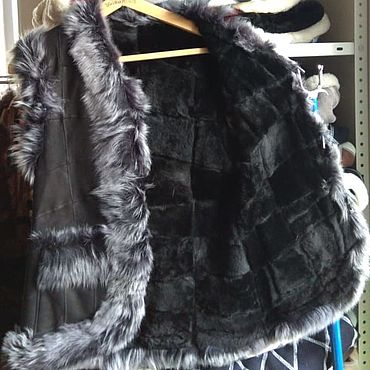 Одежда ручной работы. Ярмарка Мастеров - ручная работа Кожаный меховой жилет 44.Овчина. Handmade.