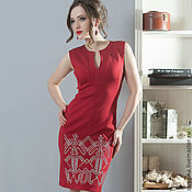 Одежда ручной работы. Ярмарка Мастеров - ручная работа Платье ORNAMENT red. Handmade.