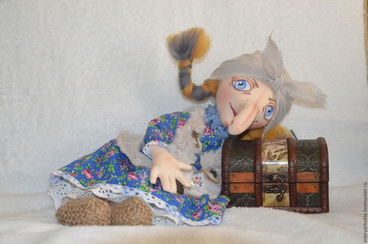 Сказочные персонажи ручной работы. Ярмарка Мастеров - ручная работа. Купить Баба Яга. Handmade. Синий, обереги в подарок, Бичёвка