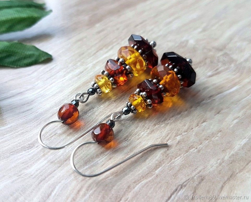 Amber. Face-to-face earrings amber silver, Earrings, Moscow,  Фото №1