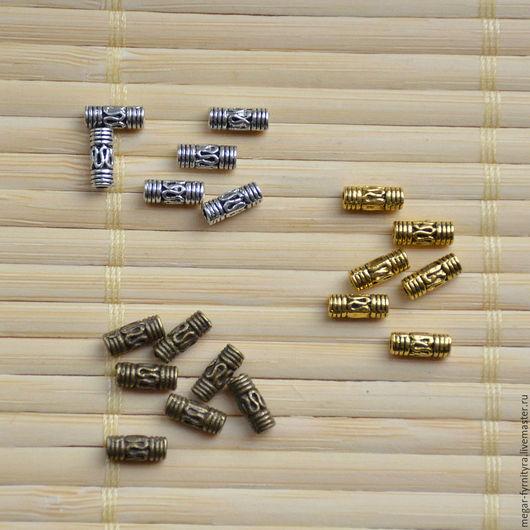 Для украшений ручной работы. Ярмарка Мастеров - ручная работа. Купить Металлическая трубочка 8x3 мм. Handmade. Серебряный, трубочка