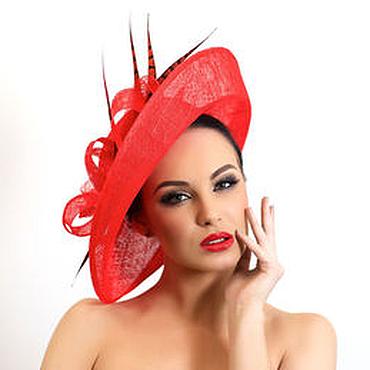 """Аксессуары ручной работы. Ярмарка Мастеров - ручная работа Эксклюзивная красная шляпа для скачек """"Hot red"""". Handmade."""