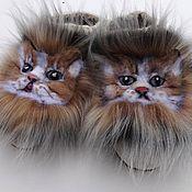 handmade. Livemaster - original item Cat felted Slippers