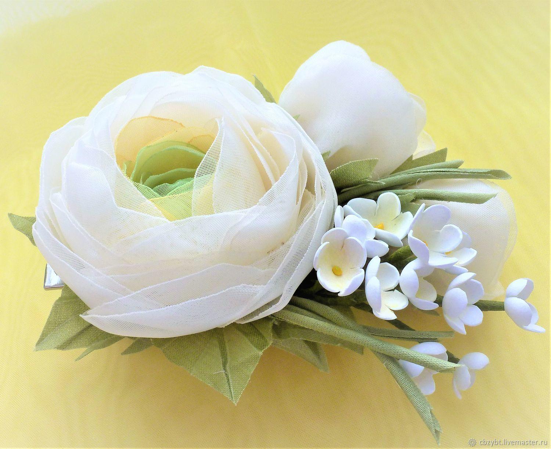 Hair clip ' Delicate buttercups'. FABRIC FLOWERS, Hairpins, Yurga,  Фото №1