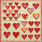 Материалы для творчества handmade. Livemaster - original item Napkins for decoupage heart patchwork print. Handmade.