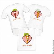 """Футболки ручной работы. Ярмарка Мастеров - ручная работа Семейный комплект футболок """"Веселые морковки"""". Handmade."""