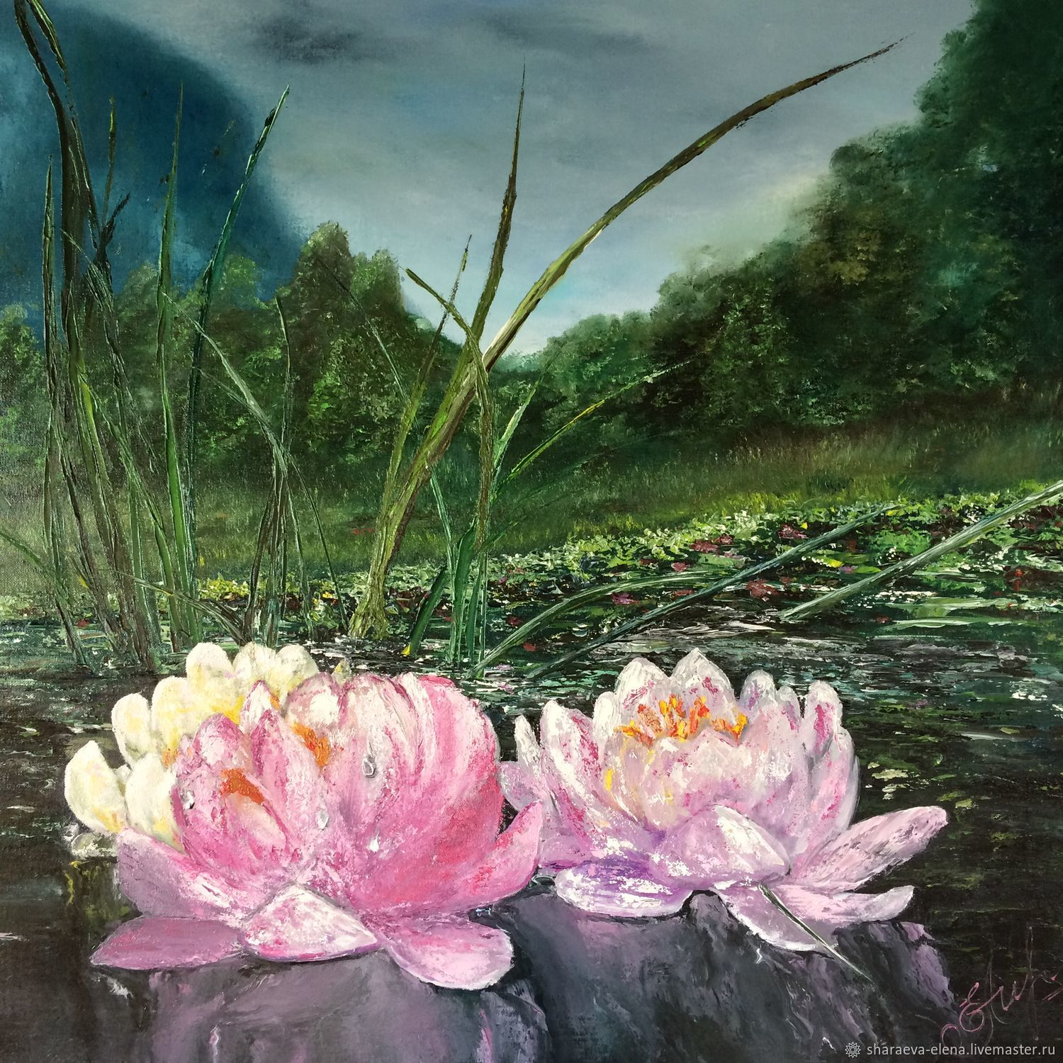 Oil painting Landscape with pink water lilies.The picture is large with flowers, Pictures, Chita,  Фото №1