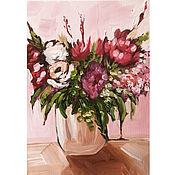 Картины и панно handmade. Livemaster - original item Oil painting Flowers in the boho style Still Life. Handmade.