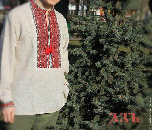 """Одежда ручной работы. Ярмарка Мастеров - ручная работа. Купить Мужская вышиванка """"Ярополк"""". Handmade. Серый, рубаха в славянском стиле"""