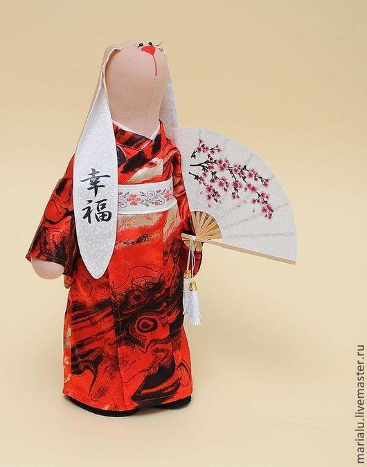 Куклы Тильды ручной работы. Ярмарка Мастеров - ручная работа. Купить Зая-японка. Handmade. Бежевый, зайка в подарок