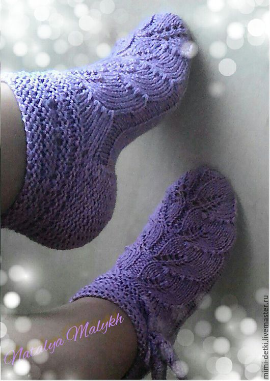 Носки, Чулки ручной работы. Ярмарка Мастеров - ручная работа. Купить Теплые ажурные носочки. Handmade. Фиолетовый