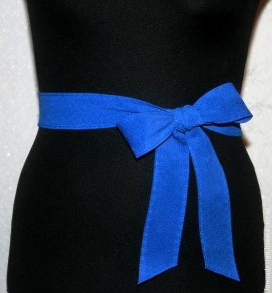 """Пояса, ремни ручной работы. Пояс-кушак 2в1 """"Blue Perfo 1"""" модель 3. Lanita Design. Ярмарка Мастеров."""