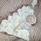 Одежда ручной работы. Ярмарка Мастеров - ручная работа Стильный вязаный короткий кардиган в эко-тонах. Handmade.