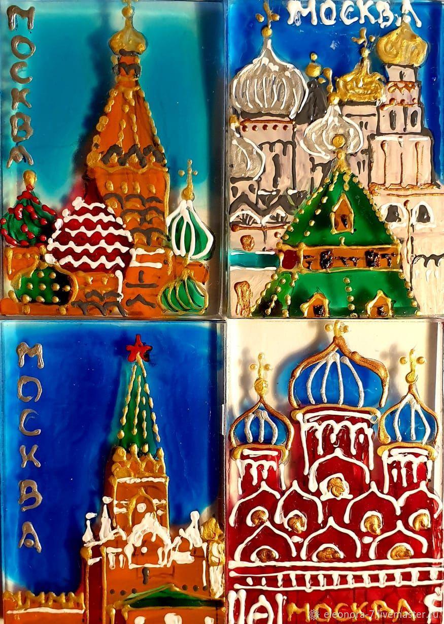 Фрагмент Собора Василия Блаженного, Церковь в Кремле, Кремль, красная, Магниты, Москва,  Фото №1