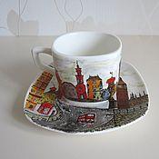 """Посуда ручной работы. Ярмарка Мастеров - ручная работа Чайная пара """"Лондонские улицы"""". Handmade."""