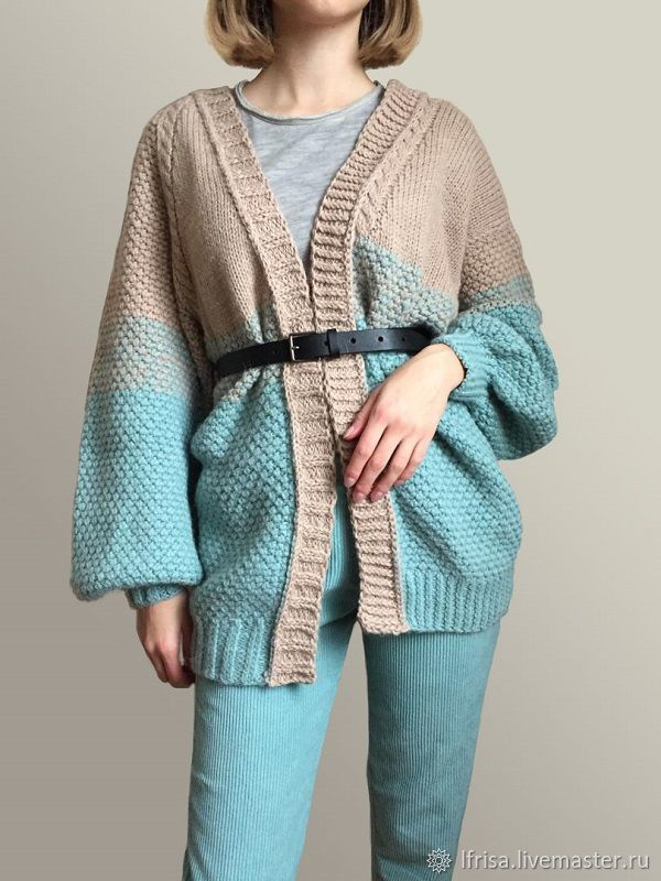 Cardigan women beige-turquoise color with gradient, Cardigans, Novosibirsk,  Фото №1