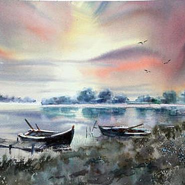 Картины и панно ручной работы. Ярмарка Мастеров - ручная работа Акварель. Пейзаж. Лодки на закате. Handmade.