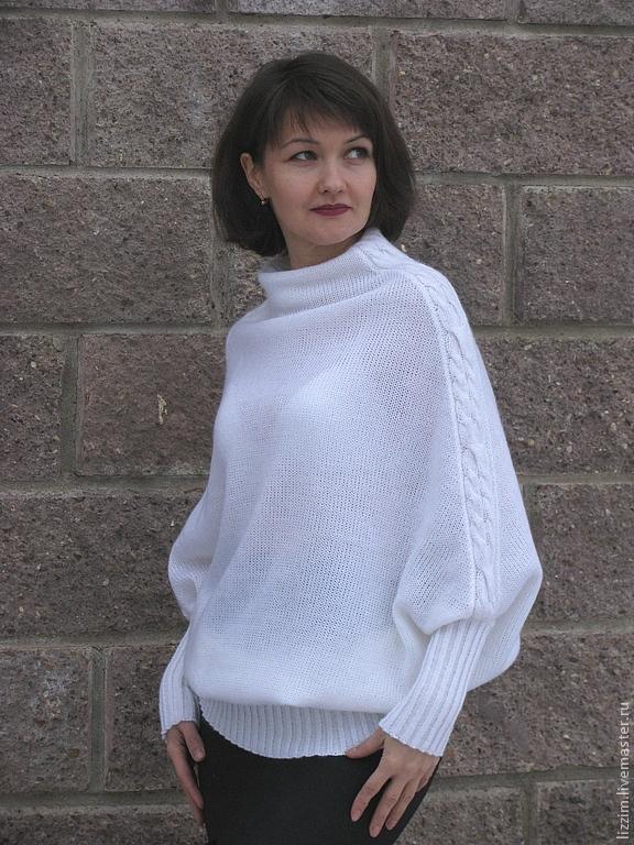 Белый вязанный женский свитер доставка