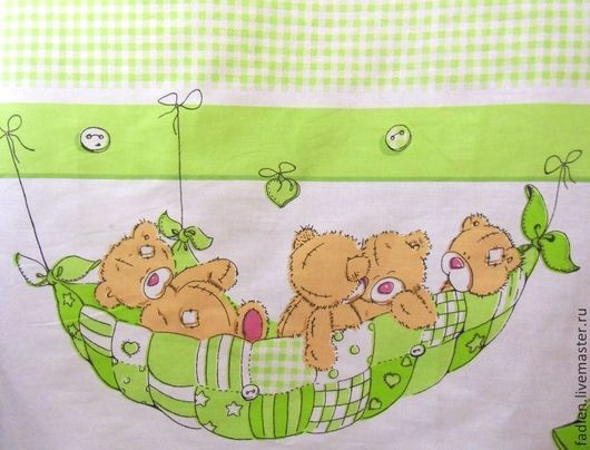"""Ткань для детского белья """"Мишки"""". Бязь. Хлопок 100%. Шир.150см. Продается на метраж. Сделаю на заказ комплект."""