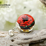 Украшения manualidades. Livemaster - hecho a mano Miniature Magic poppy - ball pendant Beads lampwork artisan implosion. Handmade.