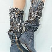 """Обувь ручной работы. Ярмарка Мастеров - ручная работа Ботфорты """"Индиго"""", каблук 2 см. Handmade."""