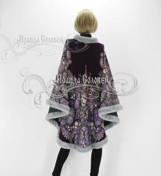 Авторское пальто-пончо из шерстяных павловопосадских платков Над серебряной водой