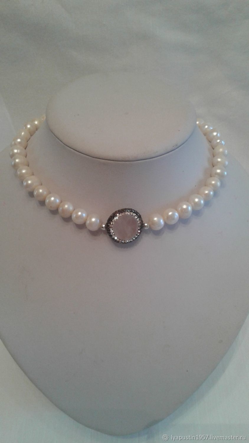 Necklace - choker made of pearls and rose quartz, Chokers, Moscow,  Фото №1