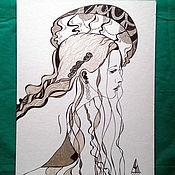 Картины и панно handmade. Livemaster - original item The Queen of Jellyfish. Handmade.