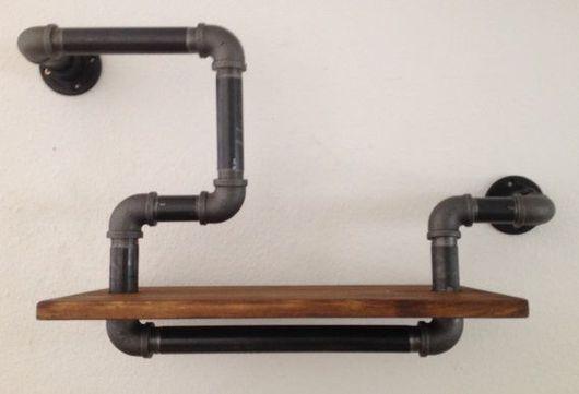 Мебель ручной работы. Ярмарка Мастеров - ручная работа. Купить Полка из водопроводной трубы. Handmade. Ручная работа, полка из дерева
